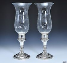 Fantastic Pair Sterling Silver Cut Glass candle Sticks by Redlich c. 1920-1940