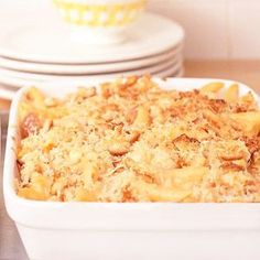 Chicken Mac and Cheese Chicken breasts add extra protein to this favorite pasta casserole recipe.