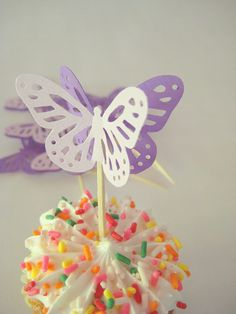 12 Large Two-toned Monarch Butterfly Party Picks Food Pick Cupcake topper. $5.00, via Etsy.