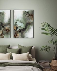 Beautiful abstract art made with alcohol ink by Norwegian artist and designer Linda Skaret. Comfy Bedroom, Bedroom Inspo, Room Decor Bedroom, House Of Philia, Bedroom Colour Palette, Bedroom Color Schemes, Design Online Shop, Couple Room, House And Home Magazine