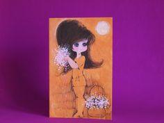 Vintage Wide Eyed Pretty Girl Farewell Card - Kitsch 60s Mid Century Brunette Mods Flowers by FunkyKoala on Etsy