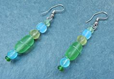 Blue and Green Glass Bead Earrings Wrapped with by KatCKsWraps, $14.00