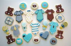 Bear baby shower cookies