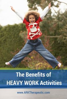 Heavy work activities are any type of action that pushes or pulls against the body. This could be tension created by something pushing/pulling against your body (like swimming where the water push… Gross Motor Activities, Work Activities, Gross Motor Skills, Sensory Activities, Therapy Activities, Sensory Play, Sensory Tools, Therapy Ideas, Sensory Issues