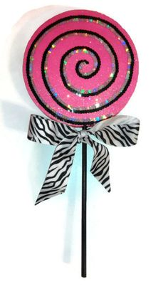 Fake Lollipop Decorations Hot Pink Zebra by GlamCandyBoutique