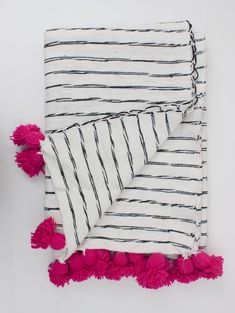 White Cotton Scribble Stripe Blankets - Pink : Ethically artisan made soft cotton scribble blanket with colourful pom pom tassel details. Contemporary soft home furnishing accessory. Monochrome bed throw available for worldwide stockists. Bed Throws, Throw Pillows, Diy Pillows And Blankets, Alpaca Blanket, Home Furnishing Accessories, Scarf Design, Cotton Blankets, Tassels, Bathroom Organization