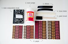 DIY Mini Composition Book Makeover (could be used as Thanksgiving gratitude journal favor)