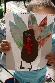 Thanksgiving Turkey Craft - footprints and bubble painting  - happy hooligans