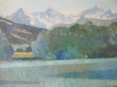 Pierre-Yves SAUTY                        Plaine de l'Aare, près de Thoune, Eiger, Mönsch, Jungfrau Oeuvre D'art, Les Oeuvres, Painting, Stone, Artist, Photography, Paint, Drawing Drawing, Painting Art