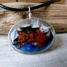 Kittens  Fused glass pendant  cat Jewelry  by ArtoftheMoment, $58.00