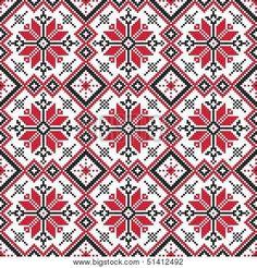 seamless embroidered good like handmade cross-stitch ethnic Ukraine pattern - stock vector Palestinian Embroidery, Hungarian Embroidery, Folk Embroidery, Cross Stitch Embroidery, Embroidery Patterns, Cross Stitch Borders, Cross Stitch Flowers, Cross Stitch Designs, Cross Stitching
