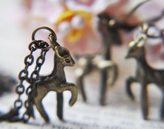 Fawn Necklace and Earrings - Deer jewelry - Woodland forest - Antique brass - Matching gift set - bambi. $18.00, via Etsy.