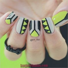 50 Quick Nail Art Ideas for Office Women Tribal Nails, Neon Nails, Love Nails, Diy Nails, Fabulous Nails, Perfect Nails, Gorgeous Nails, Pretty Nails, Ongles Beiges