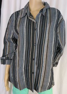 "NEW w/TAGS ""SHERRY TAYLOR"" SIZE 2X BUTTON FRONT STRIPED BLOUSE -SEE ALL PICTURES #SHERRYTAYLOR #Blouse"