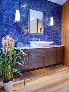 20 Ideas for Bathroom Wall Color:  From DIYnetwork.com  (Not my usual taste, but I like this one, for some strange reason.)