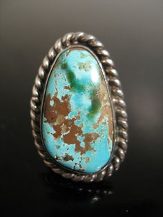 Vintage Sterling Silver TURQUOISE Ring  RARE by kidlee on Etsy