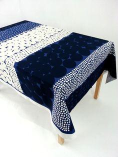 Marimekko tablecloth Marimekko Jurmo by YulkisHomeDecor on Etsy Blue Tablecloth, Tablecloths, Laminated Fabric, Marimekko, Blanket, Bed, Etsy, Furniture, Mesas