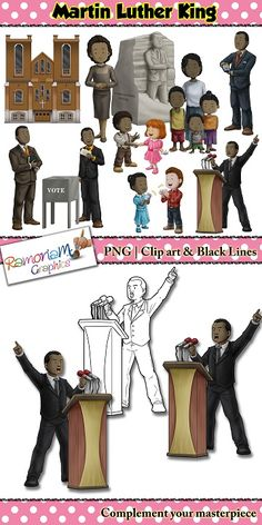 Martin Luther King Clip art set containing images that depict his life and what he represented.