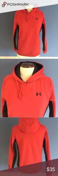 """Under Armour Red & Black Women's Hoodie Let's workout!   This hoodie will get you in the mood.  The red and black color combination looks great. Side pockets.  Material:  100% Polyester Measurements (Flat):  Length - 24""""/Bust - 20.5"""" /Waist - 19"""" Under Armour Tops Sweatshirts & Hoodies"""