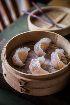 Har Gow is made of shrimp wrapped in almost translucent wraps and steamed to perfection