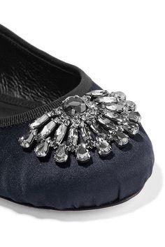 Jimmy Choo - Grace Crystal-embellished Satin Ballet Flats - Navy - IT35
