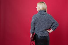 Chunky knit sweater with leather pencil skirt outfit.