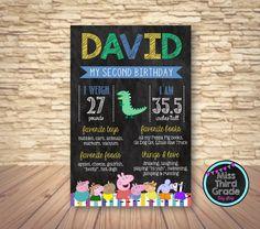 Peppa Pig Birthday Chalkboard Sign // Digital Poster by MsThirdGrade on Etsy