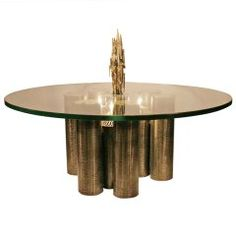 Captivating Brutalist Coffee Table With Coordinating Pendant Light Fixture