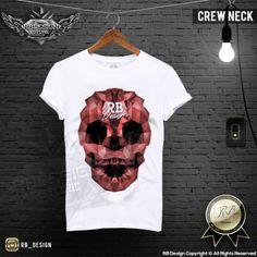 Skull Men's T-shirt Abstract Triangilation Blue Red Gray Print Fashion Top MD658
