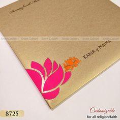 Floral lotus print on envelope too. #weddingcards #weddinginvitation #wedding #weddinginvites #indianweddingcards #hinduweddingcard #hinduwedding #kankotri #gujaratiwedding #tamilweddingcard #muslimweddingcard #musliminvitation #muslimwedding #sikhweddingcard #sikhwedding #anandkaraj #sikhcards #islamicweddingcard #nikahinvitation #walima #nikah #sevencolourscard #weddingcard #invitations #invitationcard #Southasianwedding #shaadicard Marriage Invitation Card, Invitation Kits, Wedding Invitation Envelopes, Invites, Muslim Wedding Cards, Indian Wedding Cards, Sikh Wedding, Wedding Badges, Gujarati Wedding