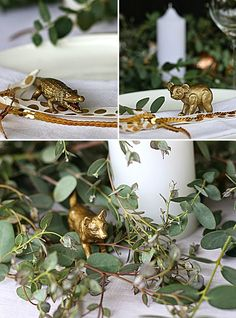 My Australian inspired Christmas table with eucalyptus canopy, gold accents and Australian animals - Table Settings Aussie Christmas, Summer Christmas, Christmas Lunch, Xmas Holidays, Noel Christmas, Homemade Christmas, All Things Christmas, White Christmas, Australian Christmas Tree