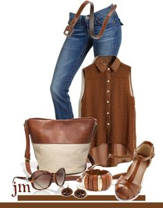 """A little matchy matchy in caramel"" by jenniemitchell ❤ liked on Polyvore"