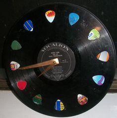 Vinyl Record Clock w/ real guitar pics