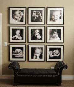 A photo wall of baby pictures. what a cute idea!   ---------------------- #baby #pictures #picture #frames #custom #framing #homedecor #homedesign #decor #decoration