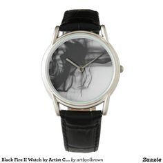 Black Fire II Classic Black Leather Watch Designed by Artist C.L. Brown. Watch is available in a variety of styles on Zazzle. #watch #watches #fashion #accessories #artbyclbrown