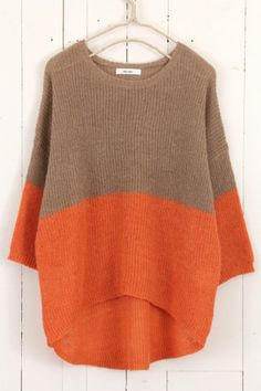 Cozy sweater shape. I'd do more of a tonal color combo, though...