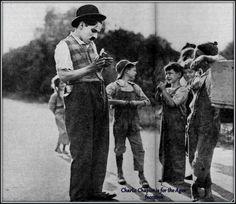 Charlie Chaplin on the set of Sunnyside  (1919).