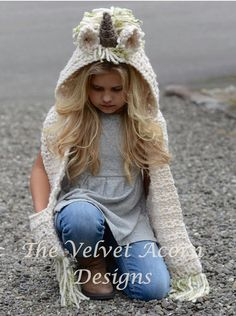 If I ever have time to crochet again. Crochet PATTERN-The Ulyne Unicorn Hooded Scarf months, Toddler, Child, Teen, Adult sizes) by Thevelvetacorn - Ad Velvet Acorn, Crochet For Kids, Crochet Baby, Knit Crochet, Crochet Hooded Scarf, Crochet Winter, Knitted Hat, Free Crochet, Crochet Unicorn Hat