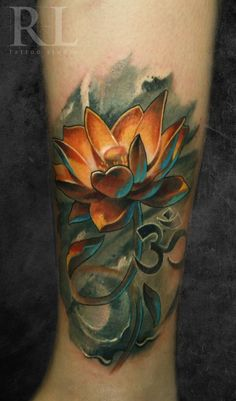 Wonderful colorful lotus tattoo