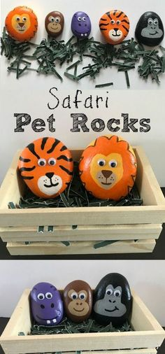 Safari Pet Rocks - Love Your Littles - Paint rock animals for your animal-loving kids! Fun craft to create a lasting toy for your little ones. Safari Pet Rocks – Love Your Littles Pebble Painting, Pebble Art, Stone Painting, Diy Painting, Painting Canvas, Painting Quotes, Kids Crafts, Fun Halloween Crafts, Summer Crafts