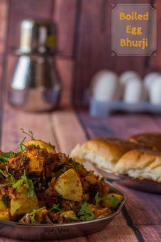Boiled Egg Bhurji-Boiled Egg Bhaji - Kali Mirch - by Smita Veg Recipes, Dinner Recipes, Cooking Recipes, Healthy Recipes, Snacks Recipes, Curry Recipes, Dinner Ideas, Vegetarian Recipes, Recipies