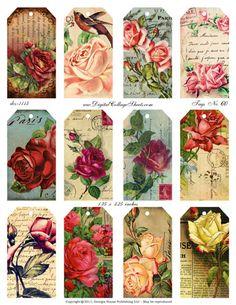 Tags #60- Vintage Rose