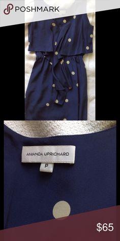 Amanda Uprichard polka dot ruffle dress Adorable 100% silk dress with front ruffle and elastic waist very flattering size P Amanda Uprichard Dresses Mini