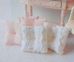 Dollhouse Miniature Shabby French Lace Toss Pillows. $14.99, via Etsy.