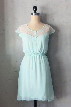 Mint dress with buttons