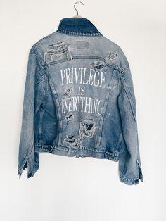Image of PRIVILEGE IS EVERYTHING Custom Distressed Light Denim Jacket