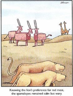 Knowing the lion's preference for red meat, the spamalopes remained calm but wary ~ The Far Side by Gary Larson