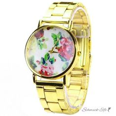 Damen Armbanduhr vintage Rosen gold