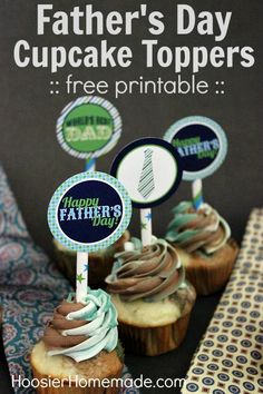 Free Printable Fathers Day Cupcake Toppers :: Available on HoosierHomemade.com