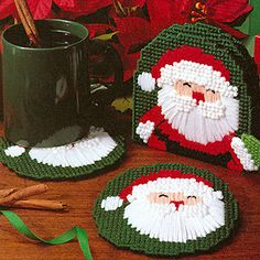 Leisure Arts - Santa Claus Coasters Plastic Canvas Pattern ePattern, $2.99 (http://www.leisurearts.com/products/santa-claus-coasters-plastic-canvas-pattern-digital-download.html)